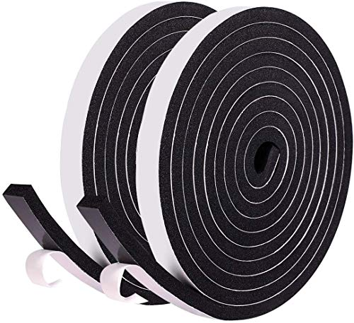 Cinta de sellado de espuma con adhesivo Ventana de alta densidad de puerta Excluidora Selladora de burletes 12 mm de ancho x 6 mm de espesor, total 8 m de largo (2 rollos de 4 m de largo cada uno)