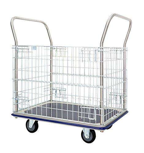 T-EQUIP GW-213, carrello con sponde a rete, per trasporto scatole e carichi, placcato in zinco, 96 x 61 x 100 cm L x P x A, capacità 370 kg, acciaio inossidabile, blu