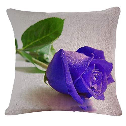 Eotifys Fundas para Cojines Blue Rose Lovers Impreso Funda De Cojín De Sofá Corto Decoración para El Hogar Artículos para El Hogar Funda De Almohada Cojín Cuadrado