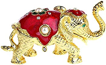 YU FENG Elephant Figurine Collection Hand-Painted Hinged Trinket Box Ring Holder with Gift Box