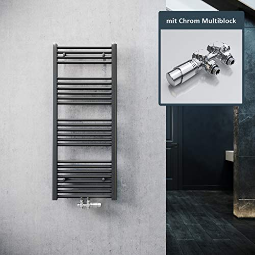 ELEGANT Badheizkörper Anthrazit 1200x500mm mit Chrom Multiblock Thermostat Handtuchheizkörper Handtuchtrockner Handtuchwärmer