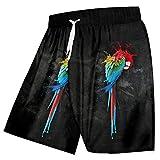 SOFTDUPANTS Pantalones Cortos de Playa para Hombres Pantalones Cortos de Traje de Talla Grande en Negro y Rojo con Estampado 3D de Loro rápido y Divertido Parrot M