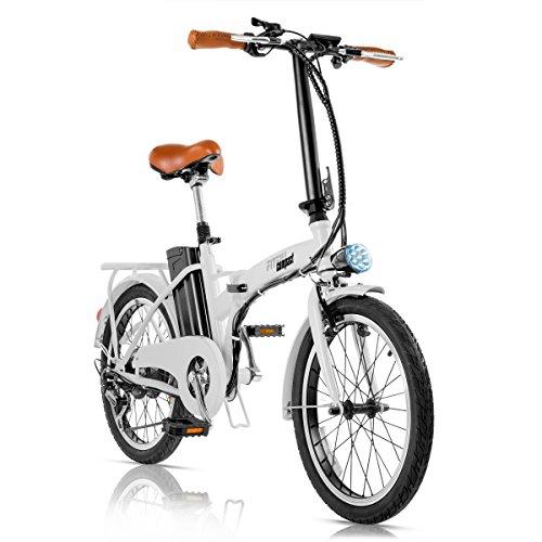 Fitfiu Compact Bicicleta Eléctrica Plegable de Paseo, Unisex Adulto, Blanco, M