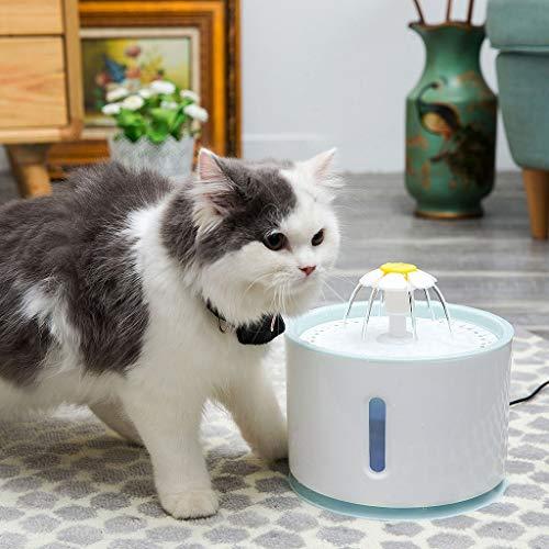 LOSVIP Neue Heimtierbedarf 2019,Haustier-elektrischer Wasser-Brunnen-Hundekatzen-automatischer trinkender Zufuhr intelligentes LED-Licht(Weiß,22x22x19cm)