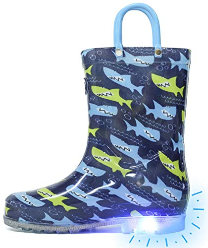 Outee Toddler Rain Boots Boys Kids Light Up Printed Waterproof Shoes Lightweight Adorable Cute Blue Shark with Easy-On Handles and Insole (Size 5,Blue)