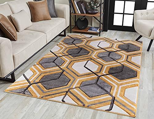 Serdim Rugs Alfombra de salón Moderna geométrica con diseño Hexagonal Tallada a Mano, Color Dorado, 80 x 150 cm