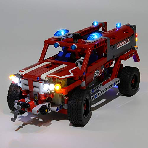 RTMX&kk Upgraded Version Light Kit for Technic First Responder Building Blocks Model, Bricks Light Kit Compatible with Lego 42075 (Not Include The Lego Model)