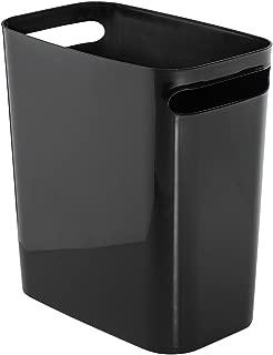 iDesign Una Rectangular Trash Handles, Waste Basket Garbage Can for Bathroom, Bedroom, Home Office, Dorm, College, 12