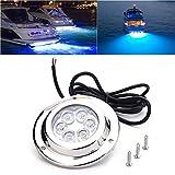 hete-supply luci subacquee a led per barche | l'acciaio inossidabile ip68 ha condotto la luce subacquea per l'yacht marino della barca, rvs, stagni, bianco/blu