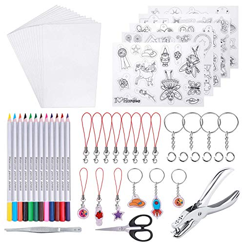 shynek Heat Shrinky Sheets, 125Pcs Heat Shrink Plastic Sheet Kit Including 20 Pcs Shrinky Paper, Hole Punch, Pencils, Keychains, Pencils, Tweezers, Scissors for Crafts and Keychains