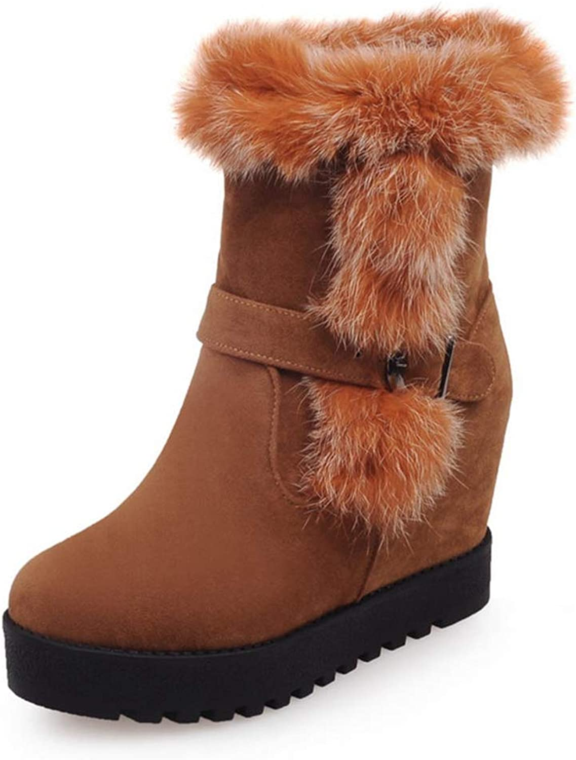 T-JULY Winter Women Mid Calf Boots Warm Add Fur Slip on Wedge Heels shoes