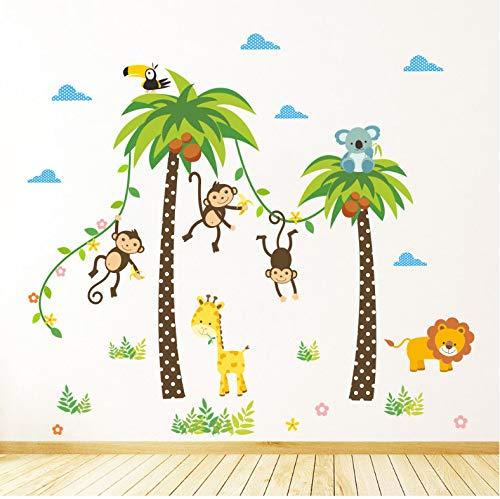 Animaux Lion Girafe Cheeky Singe Swing Arbre De Noix De Coco Stickers Muraux Pour Enfants Enfants Chambre Affiche Home Decor Nursery Decal