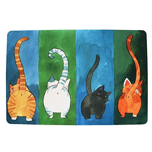 WOOD MEETS COLOR Fußmatte Katze Fussmatten rutschfest und Waschbar Türmatten für Innen und Aussen(40 x 60 cm Vielfarbig)