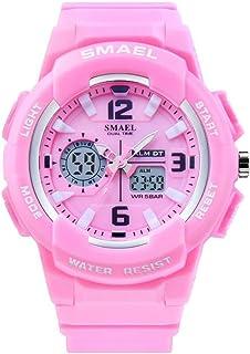 Women's Sport Wrist Watch,Quartz Dual Movement with Analog-Digital Display Watches for Women - Pink