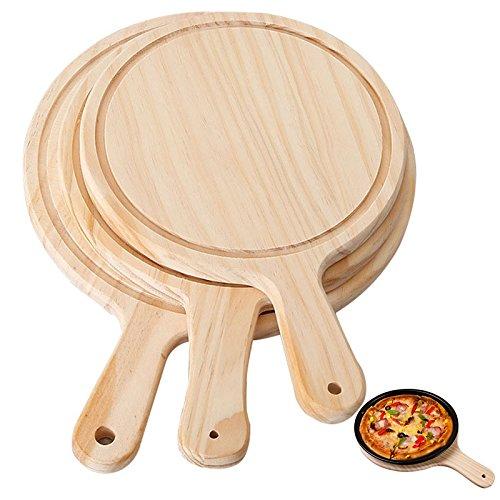 Cáscara de pizza con mango, Pizza piedra bambú pizza cáscara, tablero de pizza de madera redondo con pizza de mano para hornear bandeja pizza piedra piedra tabla plato pizza pastel hornee herramientas