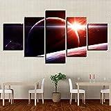 SFFLILY Cuadro En Lienzo - Impresión De 5 Piezas Material Tejido No Tejido Impresión Artística Decoracion De Pared-Nave Espacial Sunshine 30X40Cmx2 30X60Cmx2 30X80Cmx1
