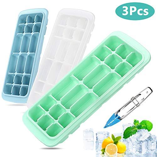 Xddias Set van 2 siliconen vormen met deksel, eenvoudig uitnemen, bewaardoos, vriesbox voor babyvoeding, levensmiddelen, gepureerd, whisky, ijs, model 2, kleur 2