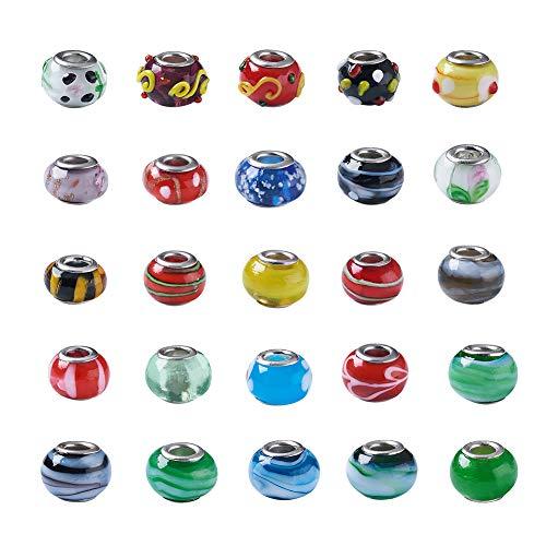PandaHall 200 cuentas de cristal de Murano Lampwork de 14 x 10 mm Rondelle gran agujero europeo cuentas de vidrio con núcleo de color plateado para la fabricación de joyas