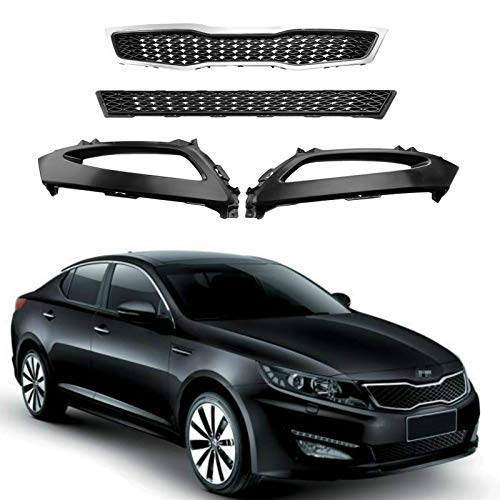 MotorFansClub Front Bumper Upper Lower Grille with Fog Lamp Bezel Fit For Compatible With Kia Optima 2011 2012 2013