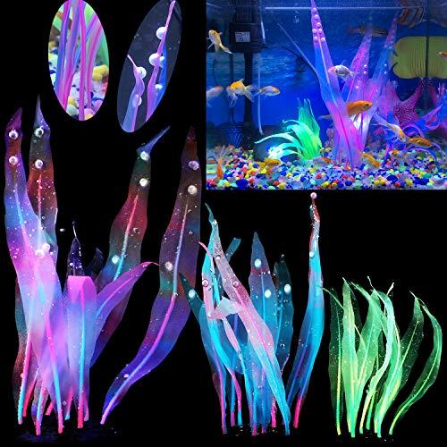 Silk Aquarium Plants Tall 7 10 17 Inches Glowing Aquarium Decorations Silicone Fish Tank Plants Glow Fish Tank Decorations Neon Decorations Artificial Aquarium Décor Glo Fish Tank Decor Kelp Seaweed