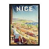 Nacnic Vintage Poster Reise nach Nizza. Blätter für
