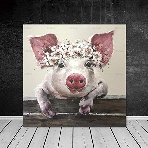 QAZEDC Leinwand Gemälde Bild Wandkunst Poster und Drucke Cartoon Schwein rahmenlose Leinwand Malerei Tier Poster dekorativeBilder für Wohnzimmer 60x80cm