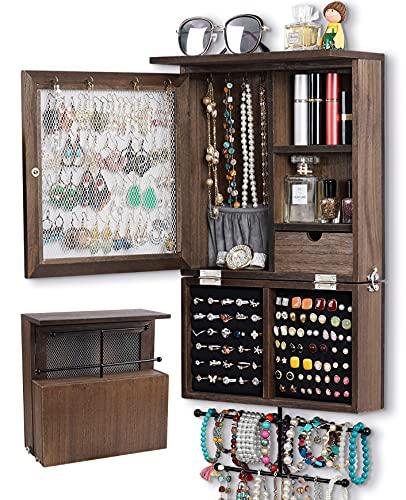Organizador de joyas de pared organizador de joyas de pared rústico organizador de pared de joyería colgante de madera para pendientes, pendientes, anillos, collares y pulsera