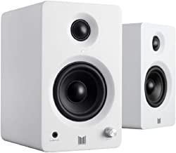Monolith MM-3 Powered Multimedia Speakers - White (Pair) with AptX Bluetooth, Front Headphone Jack, Digital Class D