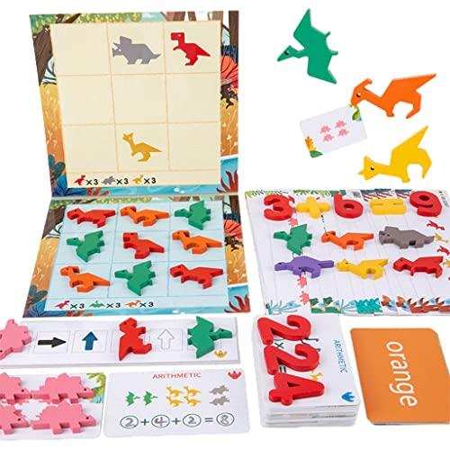 Amagogo Montessori Dinosaurio Bloques matemáticos Ayudas para la enseñanza Juegos de Rompecabezas Iluminación de Pensamiento Juguetes educativos de