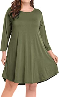 BOOB-88 Womens Dresses, Womens Large Size Long Sleeve Solid Knee Length Dress Party Dress