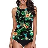 MACKOU Full Coverage Bikini Top, Women Sexy Bikini Set Print Pleated Push-Up Padded Up Soft Bag Split Swimsuit Green