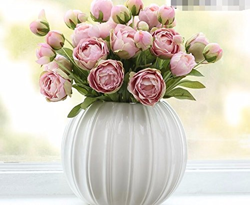 LLPXCC Faux Fleurs Accueil création florale table à manger salle de séjour moderne minimaliste européenne fleurs décoratives pastorale cuisine extérieur mariage fête Noël rose pivoine vase en céramique blanche