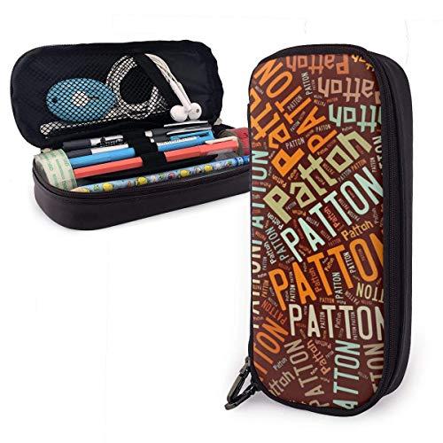 Patton-Familienname Big Capacity Leder Federmäppchen, Bleistift Schreibwarenhalter Großer Aufbewahrungsbeutel Box Organizer
