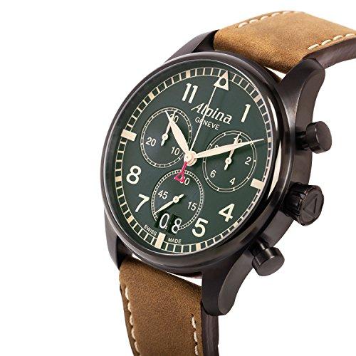 Alpina Mixte Adulte Chronographe Quartz Montre avec Bracelet en Cuir AL-372GR4FBS6
