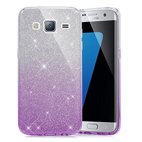 EINFFHO - Cover per Samsung Galaxy J5 2015, 2 in 1, design creativo con glitter, brillante, ultra sottile, morbida, in silicone, colore: Viola