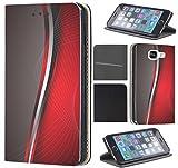 Nokia 6 (2017) Hülle von CoverHeld Premium Flipcover Schutzhülle Flip Hülle Motiv (158 Abstract Grau Weiß Rot)