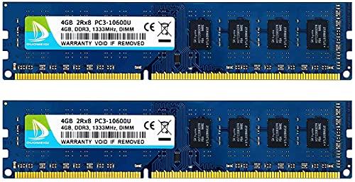 DUOMEIQI Kit da 8 GB (2 X 4 GB) DIMM DDR3 1333 MHz PC3-10600 2RX8 CL9 1.5 v (240 Pin) Modulo RAM di Memoria Desktop Senza Buffer Non ECC Compatibile con Il Sistema Intel AMD