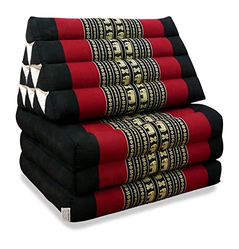 livasia Thaikissen mit 3 Auflagen, Kapok Dreieckskissen, Sitzkissen, Liegematte, Thaimatte (schwarz/Elefanten)
