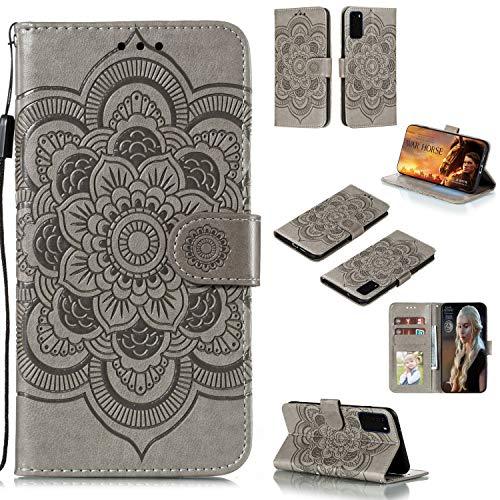 IMOK Handytasche Motorola Moto G30 Handytasche, hochwertige PU-Ledertasche S20 Handytasche [TPU-Innenbox] [RFID-Abschirmung] [Kartenclip] Flip Wallet Box Handytasche-grau