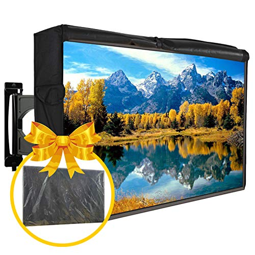 """Outdoor TV Cover 60""""-65"""" Universal Waterproof Dust-Proof With FREE Plastic Cover Front Flap Scratch Resistant Interior Protector for LCD LED Plasma Television Set Remote Controller Pocket"""