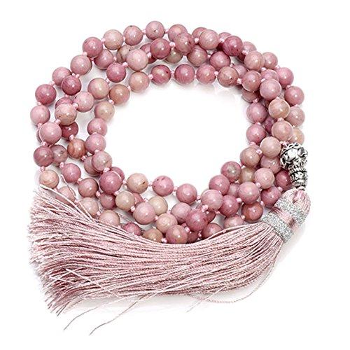 CrystalTears 108 Perlen Edelstein Yoga Buddha Armband Chakra Wickelarmband Tibetische Gebetskette Healing Reiki Mala Kette Halskette (Eine Farbe-Rhodochrosit)
