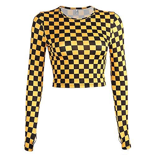 Camiseta de Manga Larga a Cuadros Amarilla Mujer Streetwear Crop Tops