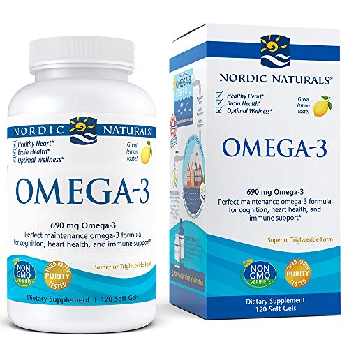 Nordic Naturals Omega-3, Lemon Flavor - 690 mg Omega-3-120 Soft Gels - Fish Oil - EPA & DHA - Immune Support, Brain & Heart Health, Optimal Wellness - Non-GMO - 60 Servings