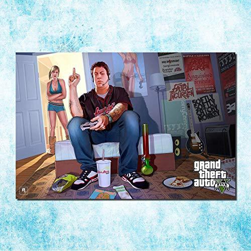 Grand Theft Auto V Spiel Kunst Leinwand Leinwand Poster Druck GTA 5 Wandbilder für Wohnzimmer 60x90cm Leinwand