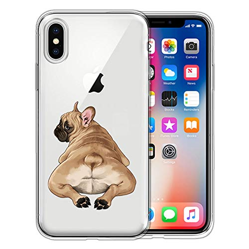 FINCIBO Clear Transparent TPU Silicone Protector Case Cover Soft Gel Skin Compatible with Apple iPhone X XS 5.8 inch - French Bulldog Butt Looking Back