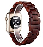 Holz für Apple Watch Armband 42mm, Sugelary Uhr Armband für Herren Damen Apple Watch Series 1 2 3...