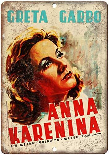Secofe Anna Karenina Greta Garbo película de 20 x 30 cm estilo vintage que no se destiñe en metal para decoración de pared para cafetería, bar, restaurante, bar