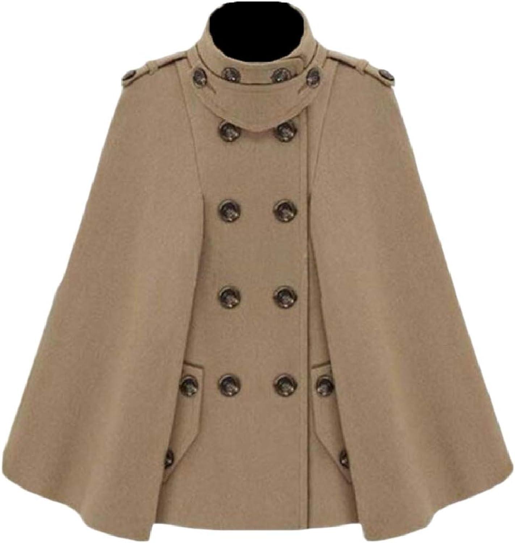 PujinggeCA Womens Fashion DoubleBreasted Cloak Outwear Wool Pea Coat Overcoat