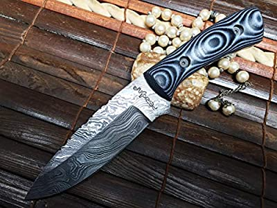 Perkin Handmade Damascus Hunting Knife Full Tang Fixed Blade Knife - 5MH