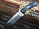 Cuchillo de caza de acero de Damasco con funda de piel.